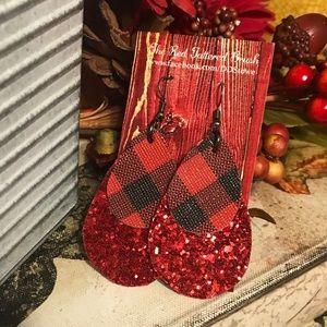 Faux Leather Earrings Red Glitter Buffalo Plaid